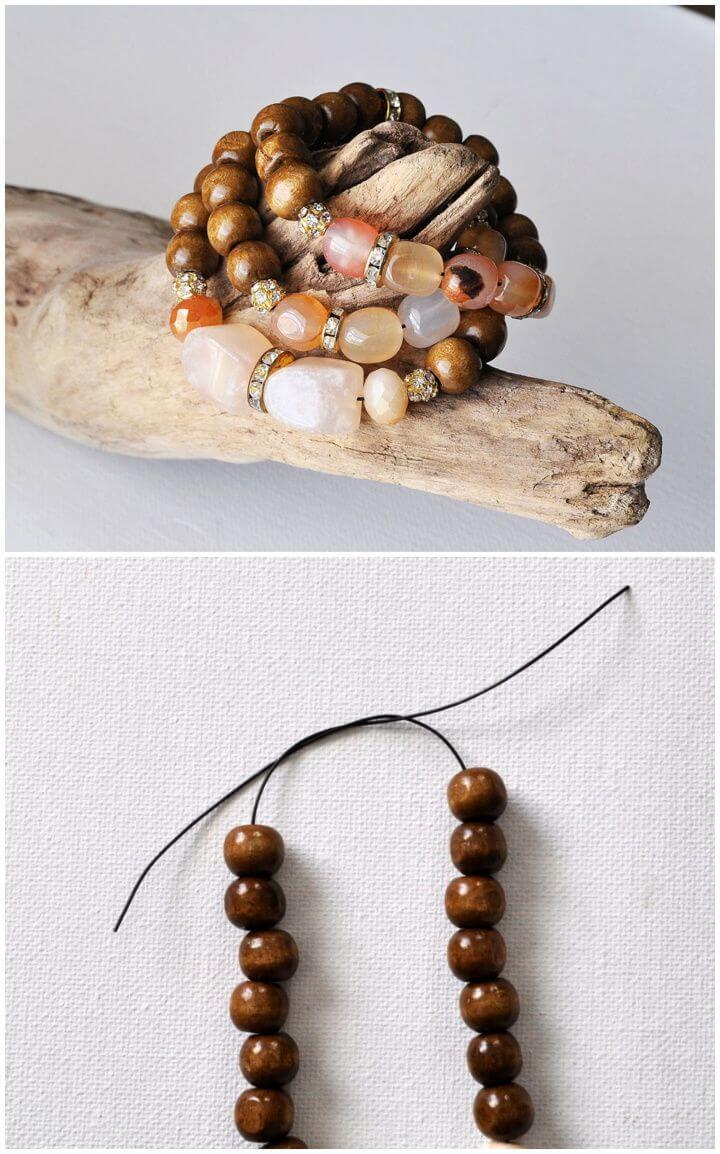 Wood Stone Bead Bracelets