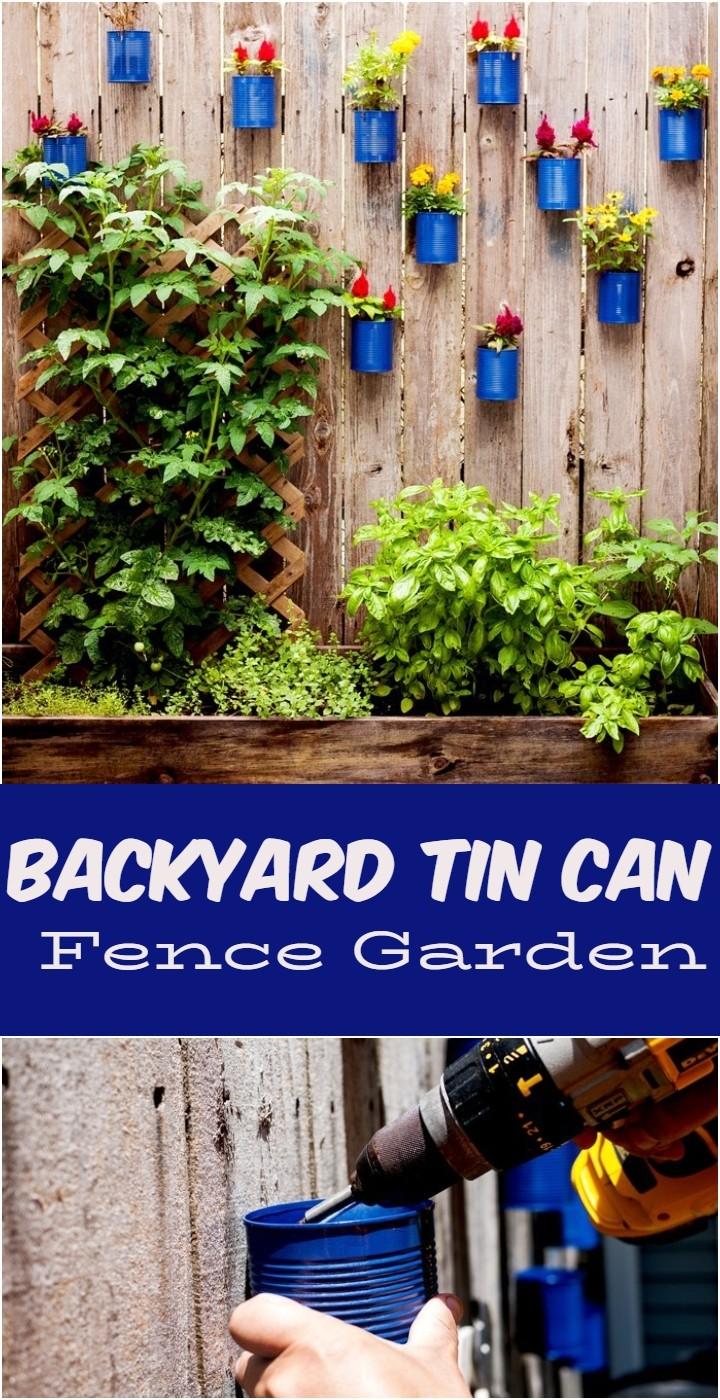 Backyard Tin Can Fence Garden