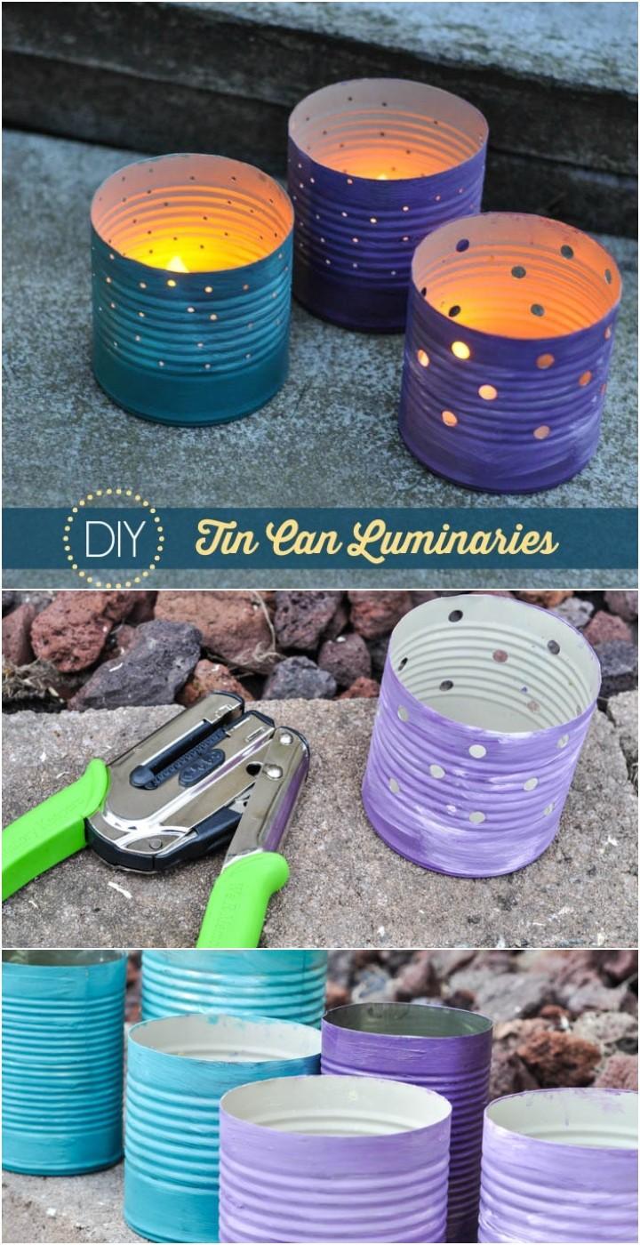 DIY Tin Can Luminaries