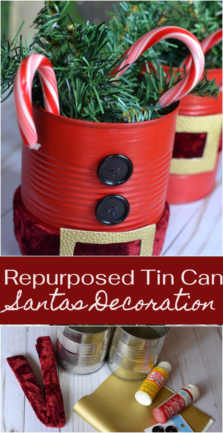 Repurposed Tin Can Santas Decoration