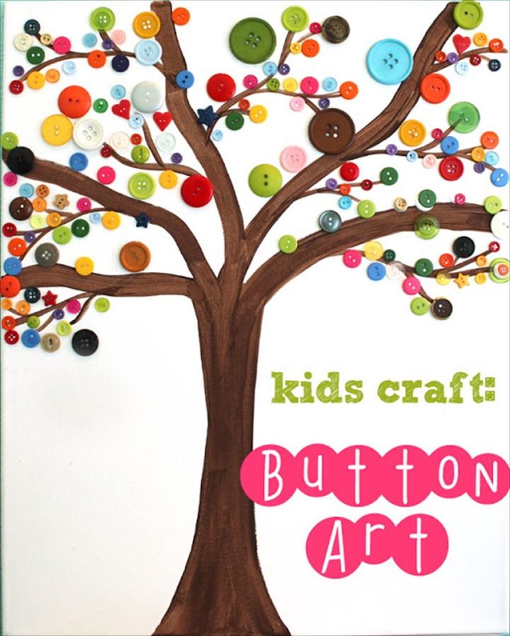 Button Art Tree a Great Kids Craft
