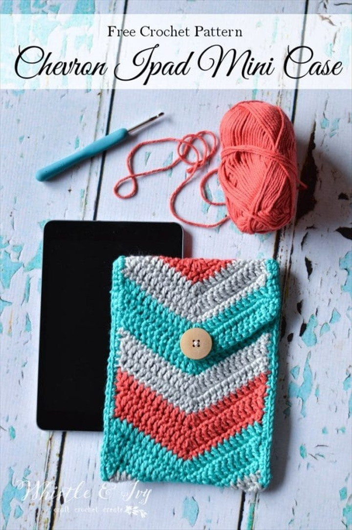 Chevron Crochet Tablet Pouch – Free Crochet Pattern