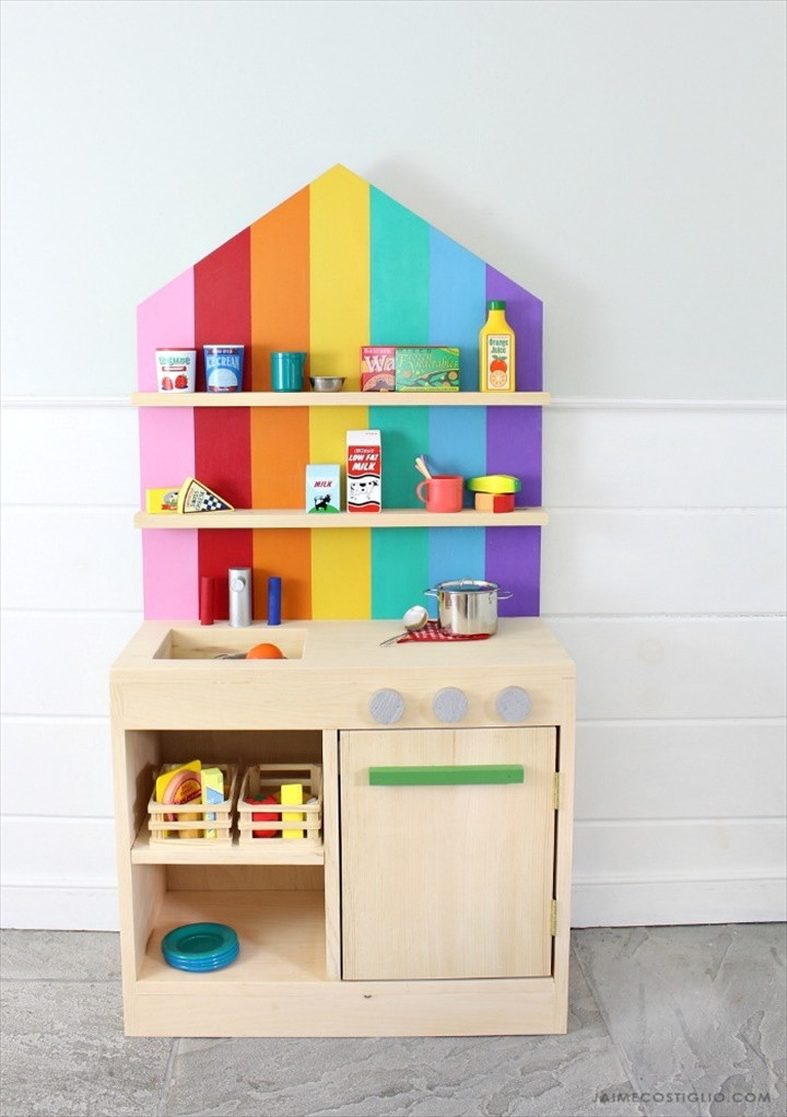 DIY Play Kitchen with Back Wall
