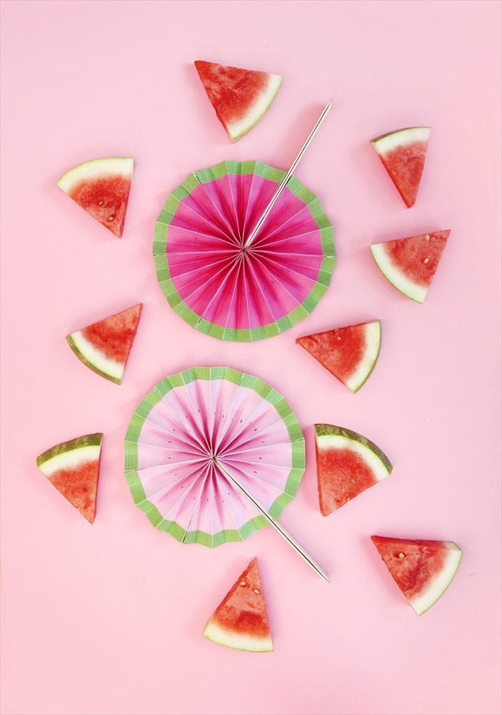 Easy Paper Watermelon Fans