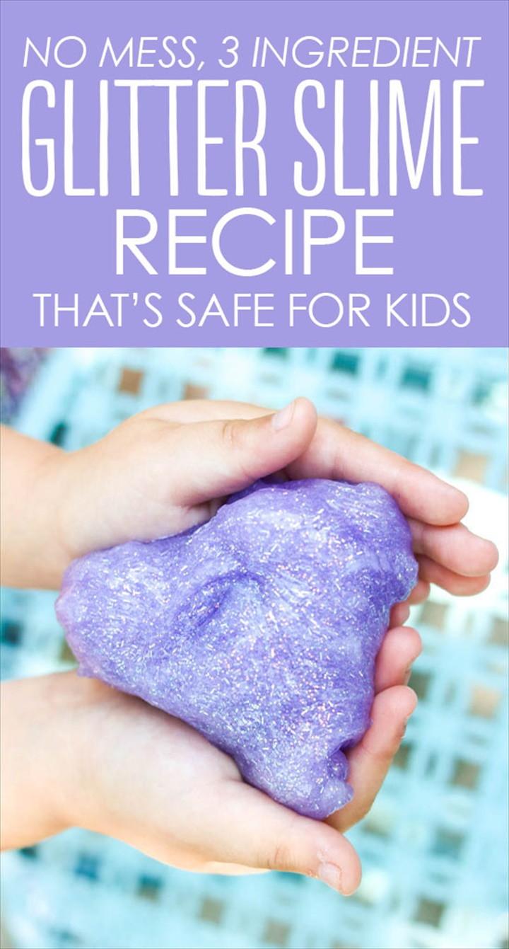Mess Free Glitter Slime Recipe